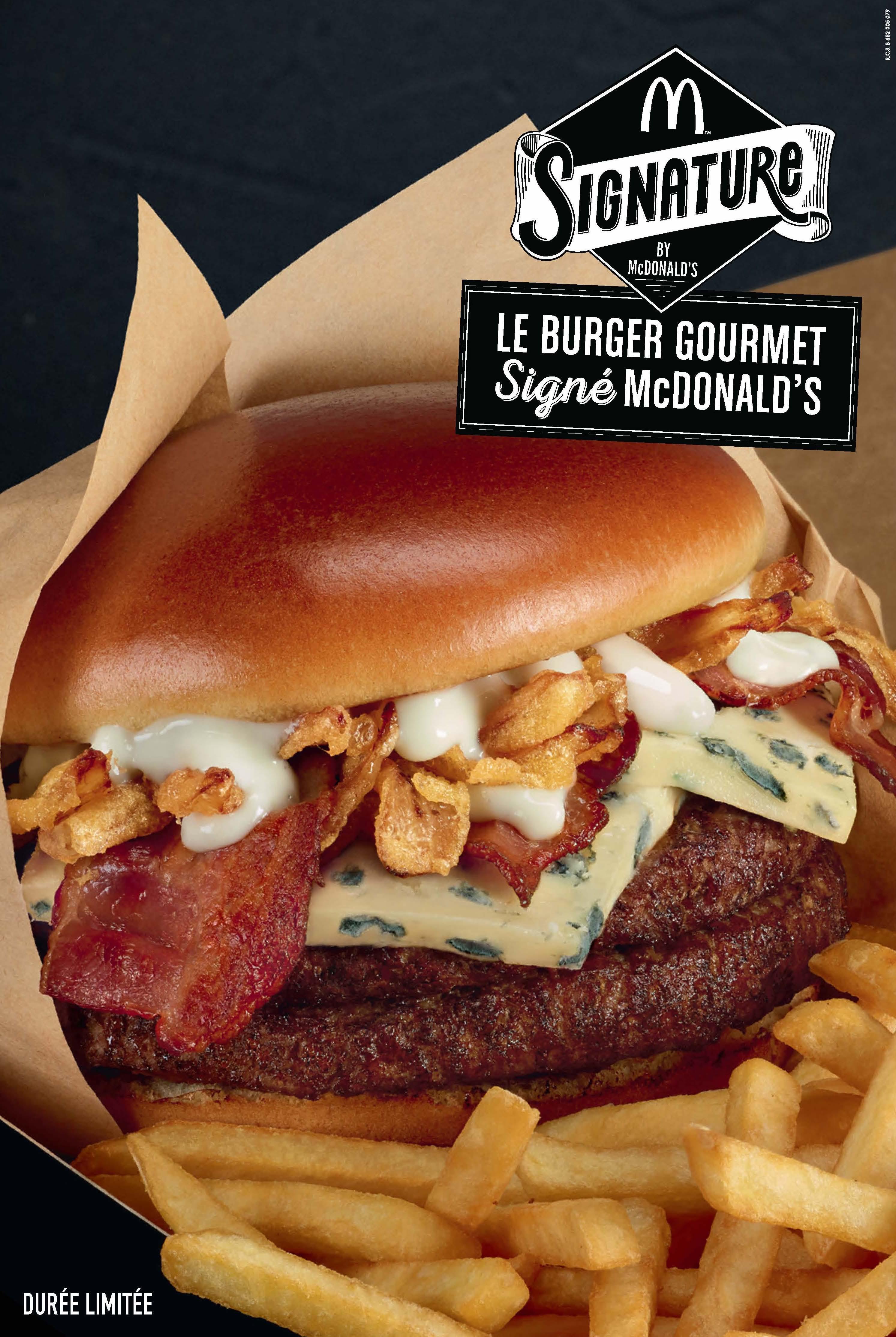 le burger gourmet signature dans tous les mcdo fran ais avec des couverts. Black Bedroom Furniture Sets. Home Design Ideas