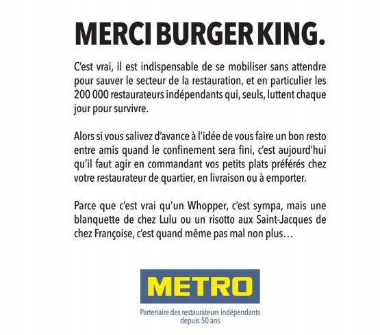 Merci Burger King METRO
