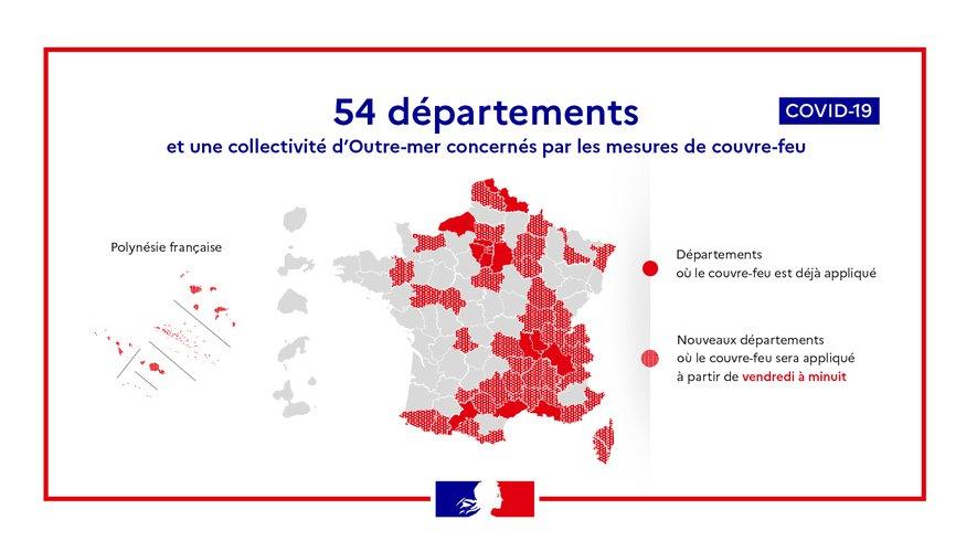 Coronavirus : carte des 38 nouveaux départements, soit 54 au total, soumis au couvre-feu dès vendredi à minuit de 22h à 6h