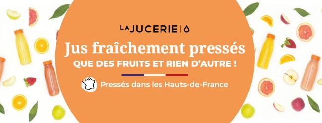 La Jucerie des jus de fruits pressés à froid chaque jour dans les Hauts de France en continu pour conserver tous les bienfaits naturels du goût du fruit