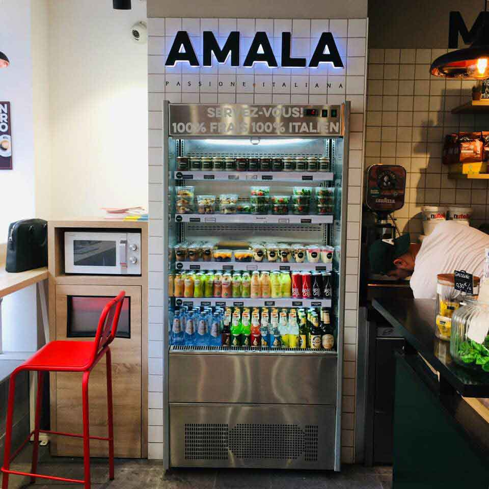 le libre service chez Amala, concept de street food italien Paris en proxi