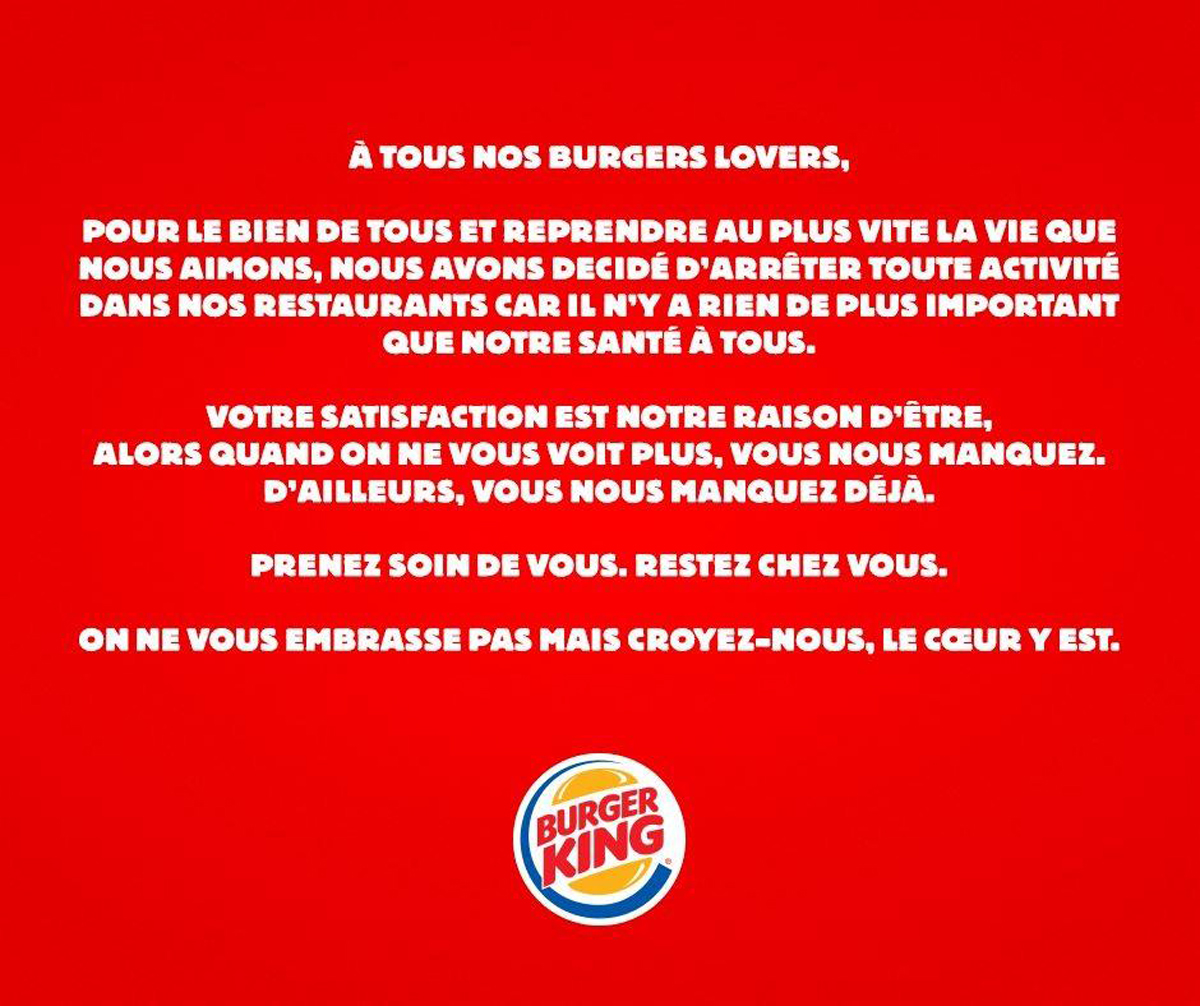 Corona virus : burger king ferme et stoppe ses activités pour protéger les consommateurs et ses collaborateurs