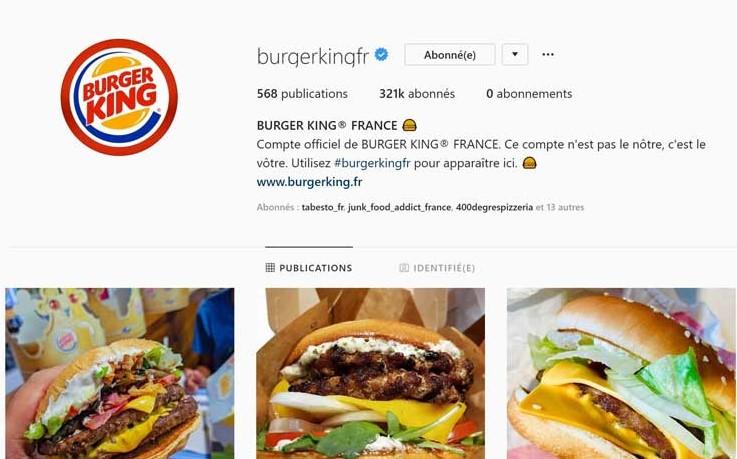 Burger King sur instagram : ce compte est le vôtre