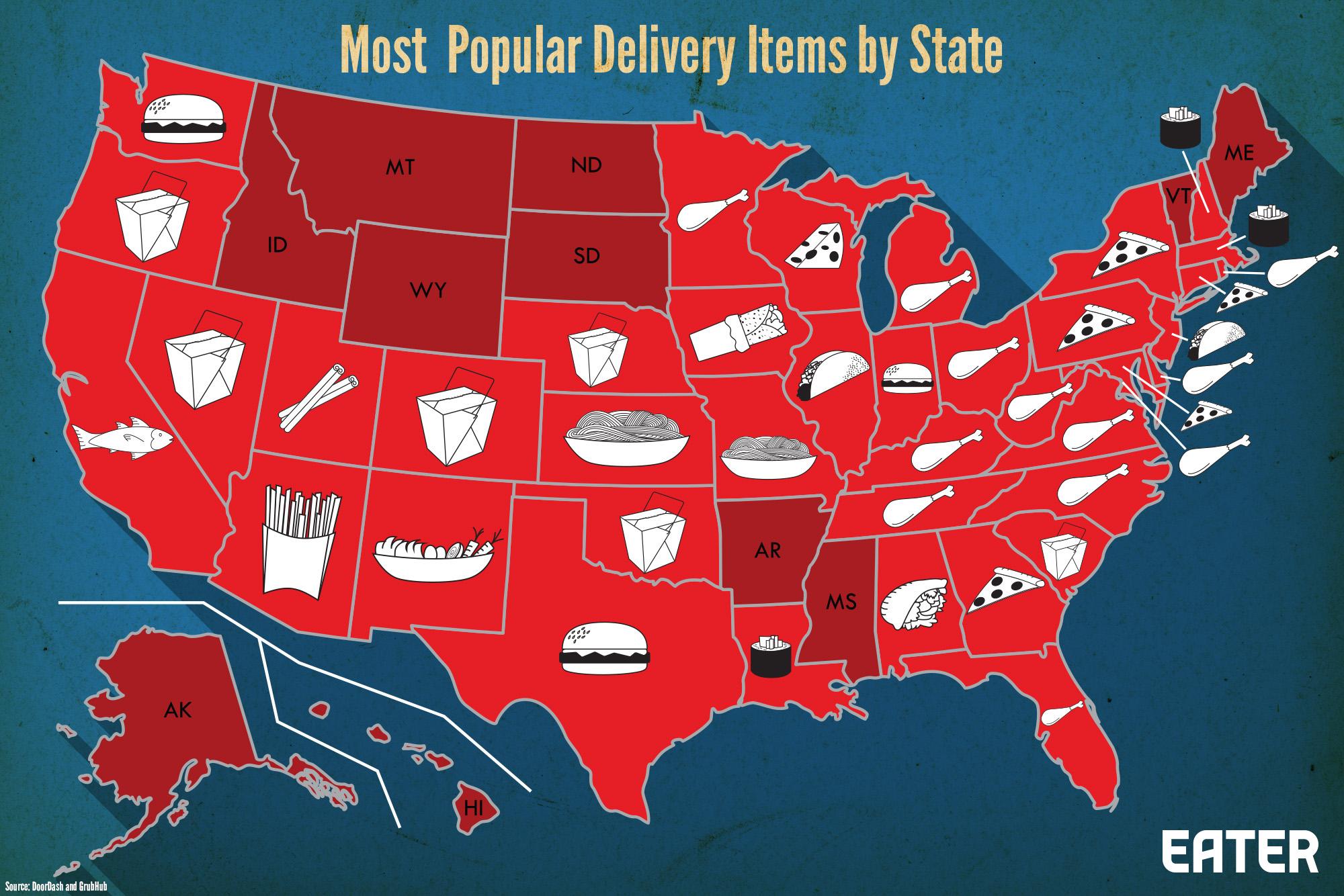 carte des produits en restauration livree aux US