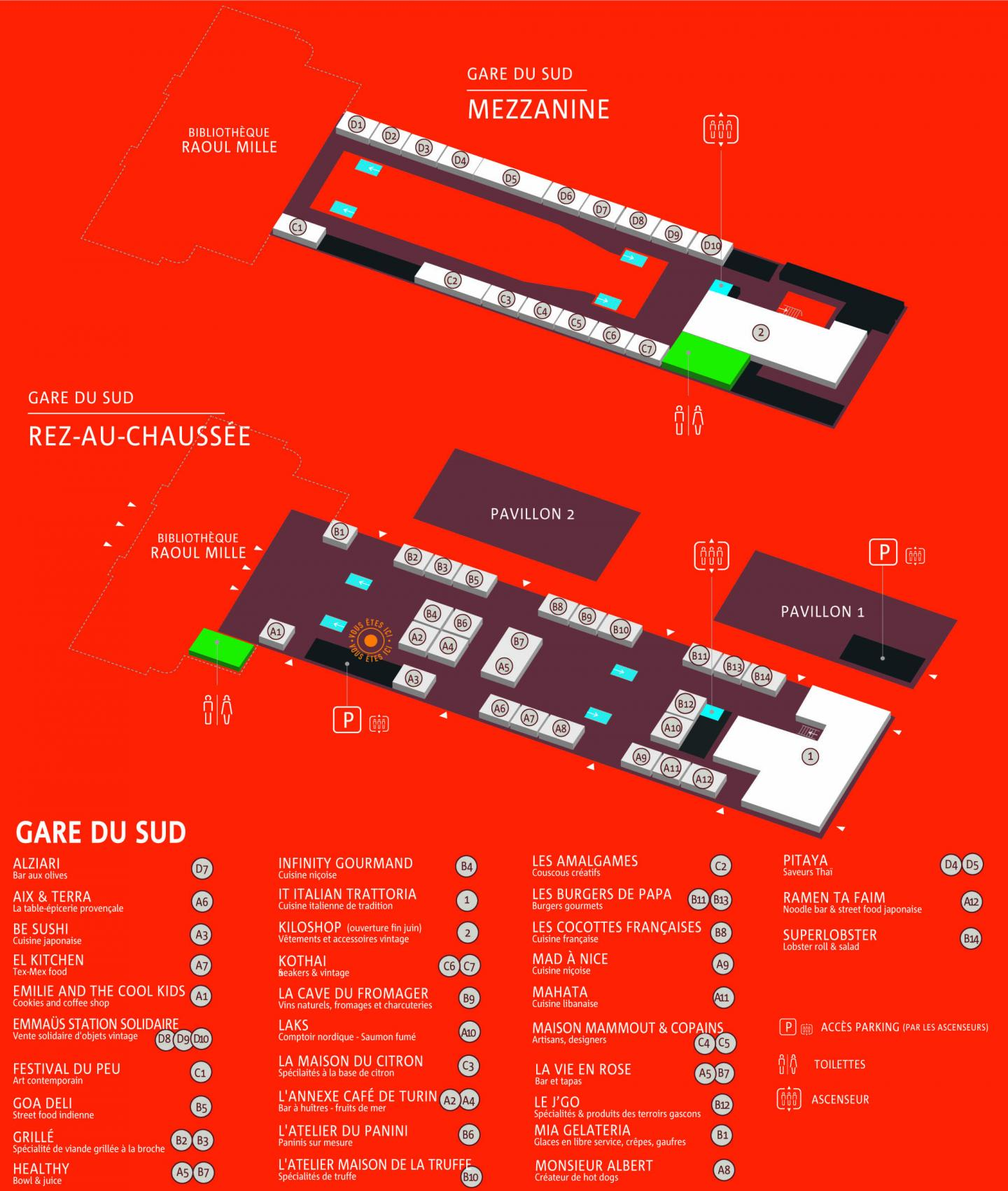 Plan des concepts implantés dans la Halle Gourmande de Nice
