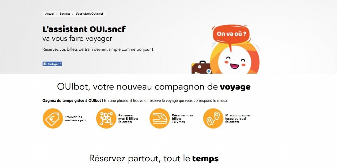 Oui Bot, le Chat Bot de la SNCF afin de simplifier la navigation des utilisateurs
