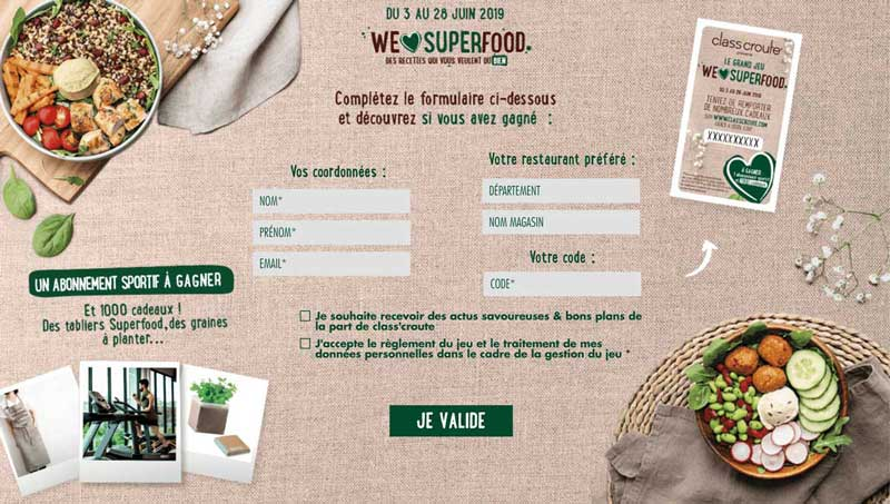 jeu concours we love superfood classcroute interactif