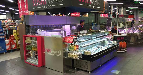 sushi maki store va installer un kiosque avec consommation sur place chez leclerc. Black Bedroom Furniture Sets. Home Design Ideas