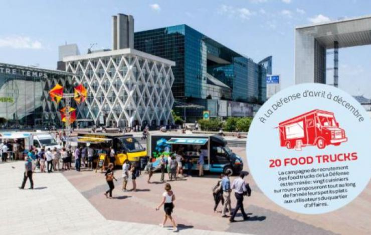 Les food-trucks en station à la Défense