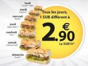 Subway joue l'accessibilité prix avec son semainier SUB à 2,90€