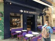 Bon Appétit ! Carrefour Paris rue Rambuteau façade de l'enseigne distriration