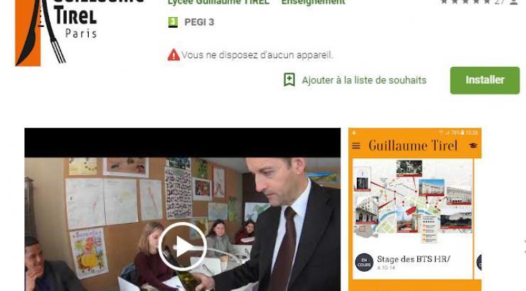 Le Lycée Guillaume Tirel PARIS lance son application pour mobile