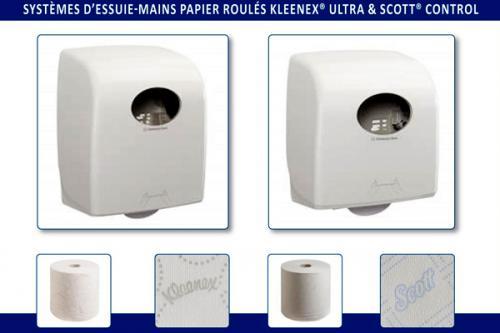 Essuie-mains papier roulés Kleenex Ultra & Scott Control