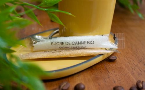 Sachets de sucre avec emballage compostable