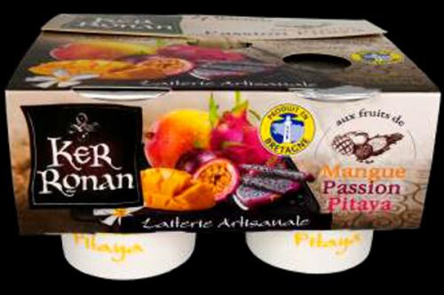 Yaourt brassé au lait entier mangue, fruit de la passion, pitaya