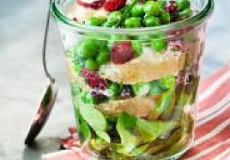 Rémoulade de petit pois, Craisins® Cranberries séchées et pomelos